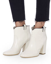 Pete White Leather Booties, BLK/WHT, hi-res