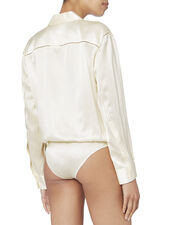 Ivory Silk Shirt Bodysuit, WHITE, hi-res