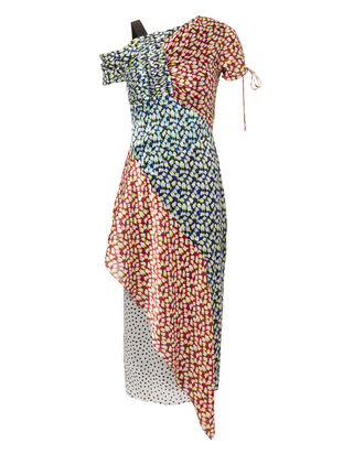 Printed Crepe Asymetrical Dress, MULTI, hi-res