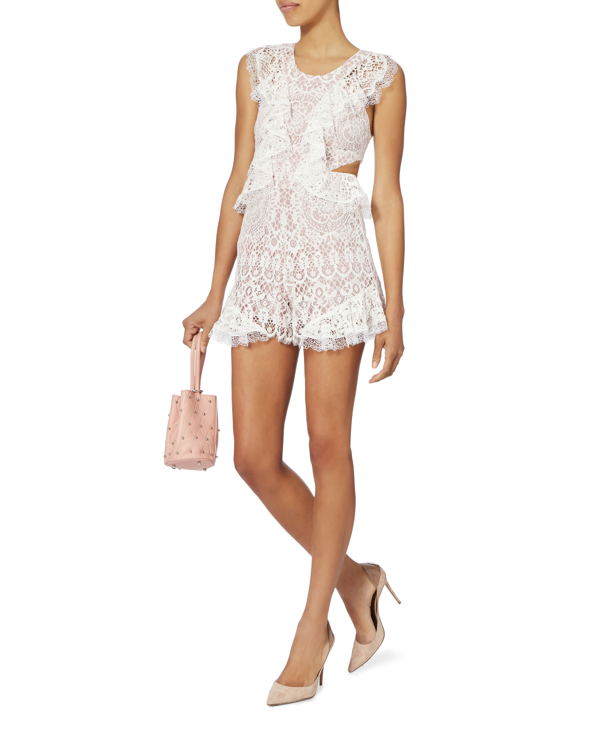 Bar White Lace Romper, IVORY, hi-res