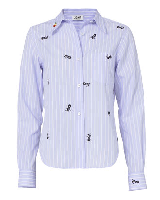 Embroidered Pinstripe Button-Down Shirt, PATTERN, hi-res