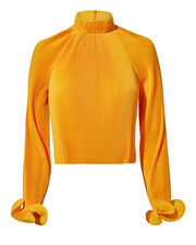 Yellow Pleated Crop Top, YELLOW, hi-res