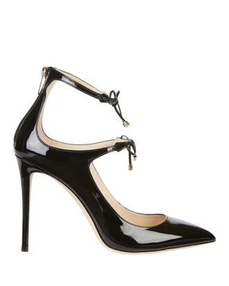 Sage Bow Patent Leather Pumps, BLACK, hi-res