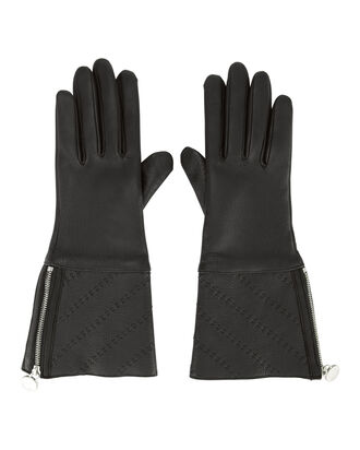 Shearling-Lined Black Gloves, BLACK 2, hi-res