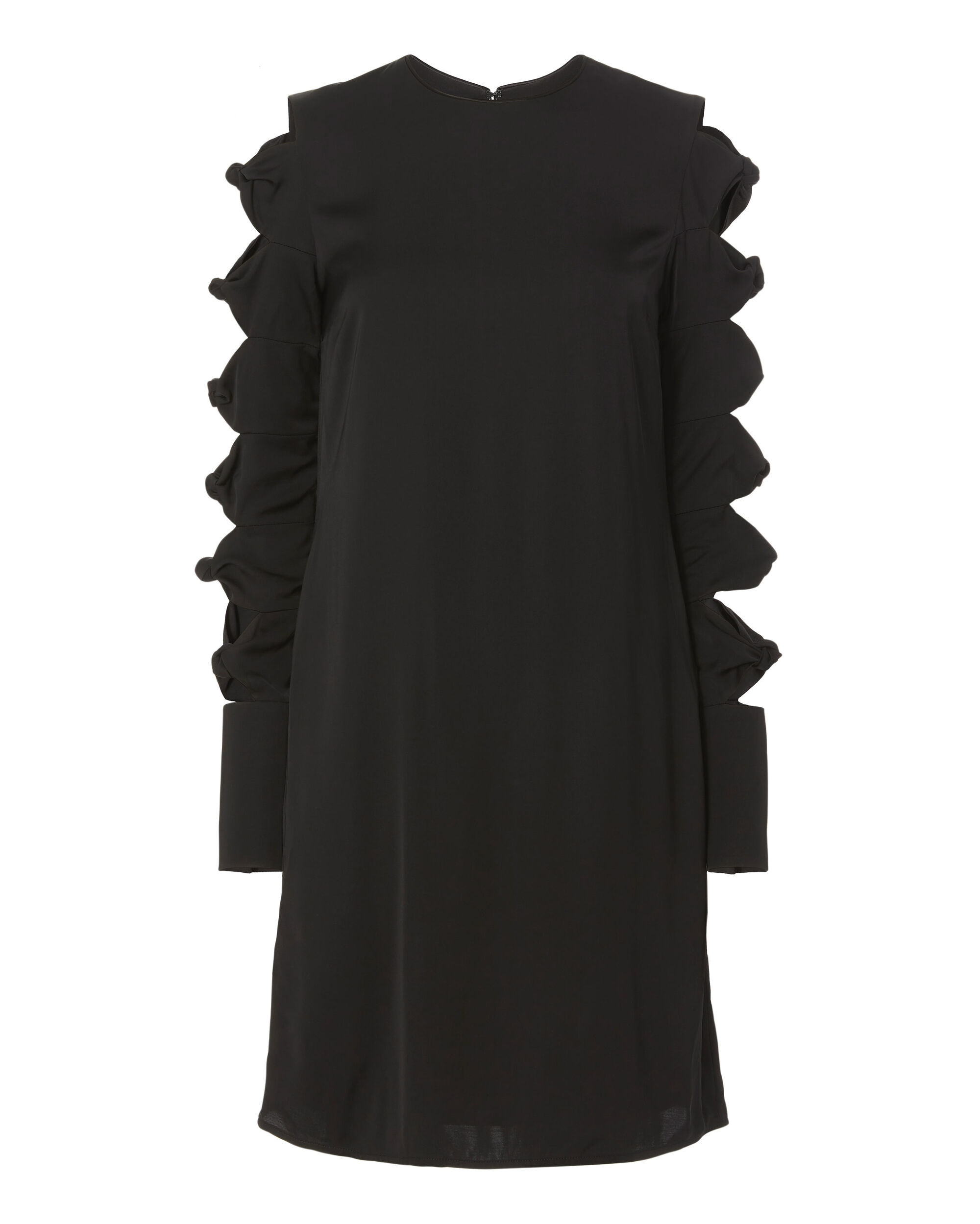 Knotted Sleeve Dress, BLACK, hi-res