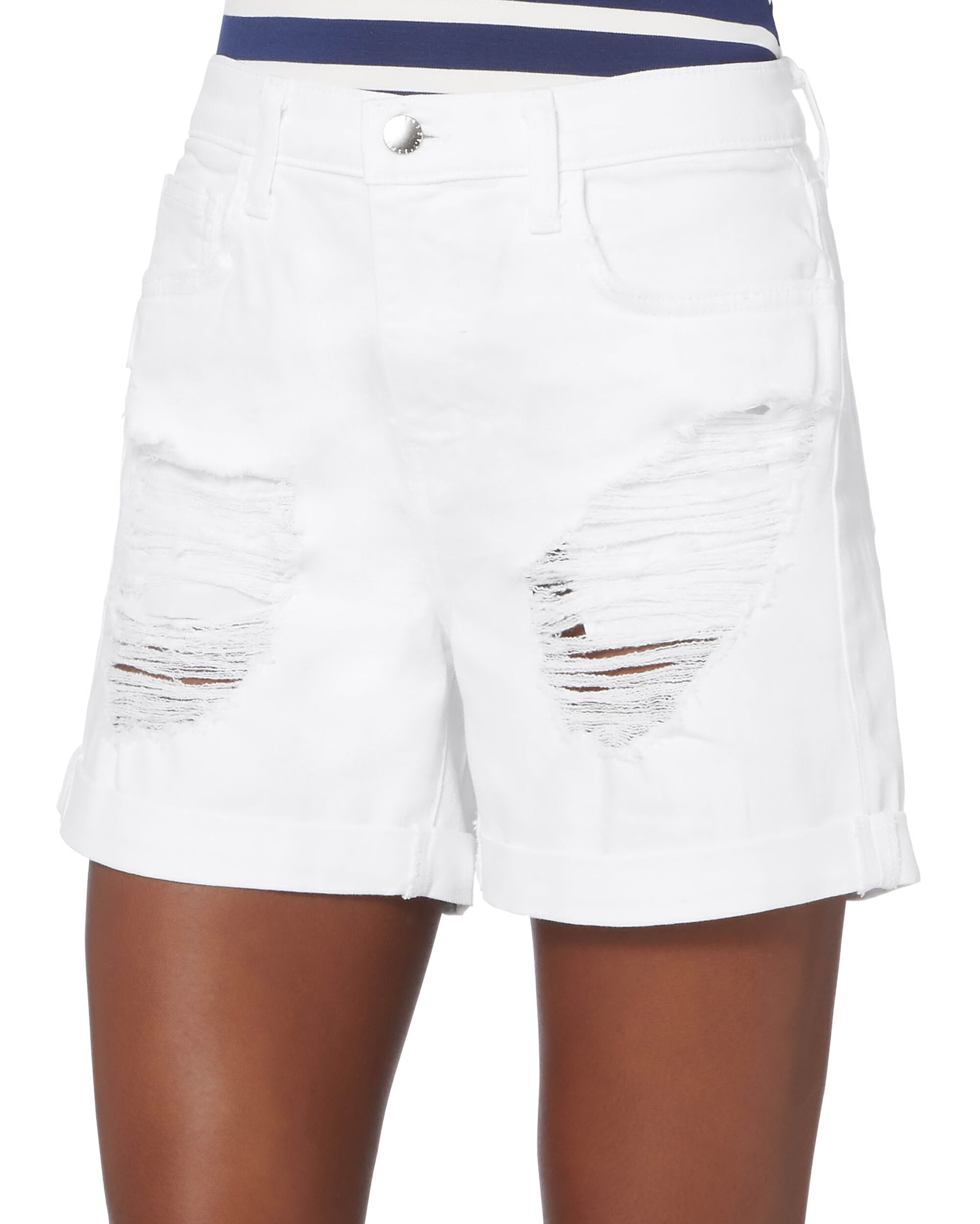 Balboa Double-Rolled Denim Shorts, WHITE, hi-res
