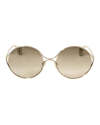 Oval Frame Pearl Temple Sunglasses, GOLD, hi-res