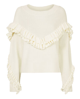 Ruffled Yoke Sweater, IVORY, hi-res