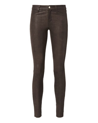 Aurelie Skinny Leather Pants, BROWN, hi-res