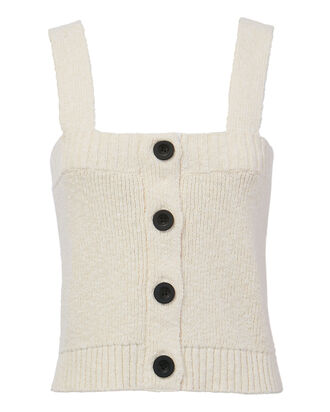 Button Down Sweater Tank, WHITE, hi-res