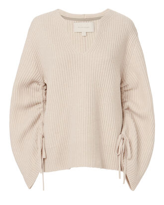 Anneka Gathered Sleeve Sweater, BEIGE, hi-res