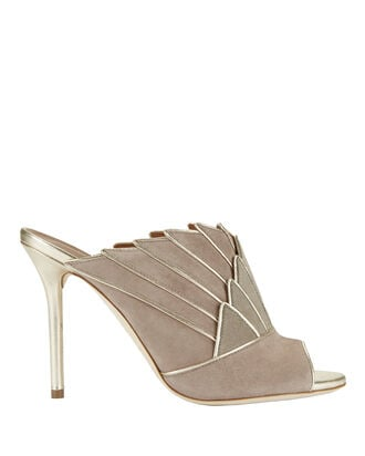 Donna Metallic Detail Fanned Suede Mule Sandals, BLUSH/NUDE, hi-res