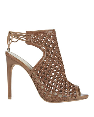 Jackye Crochet Leather Brown High Heel Sandals, BROWN, hi-res