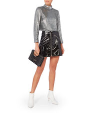 Keegan Sequin Crop Top, SILVER, hi-res