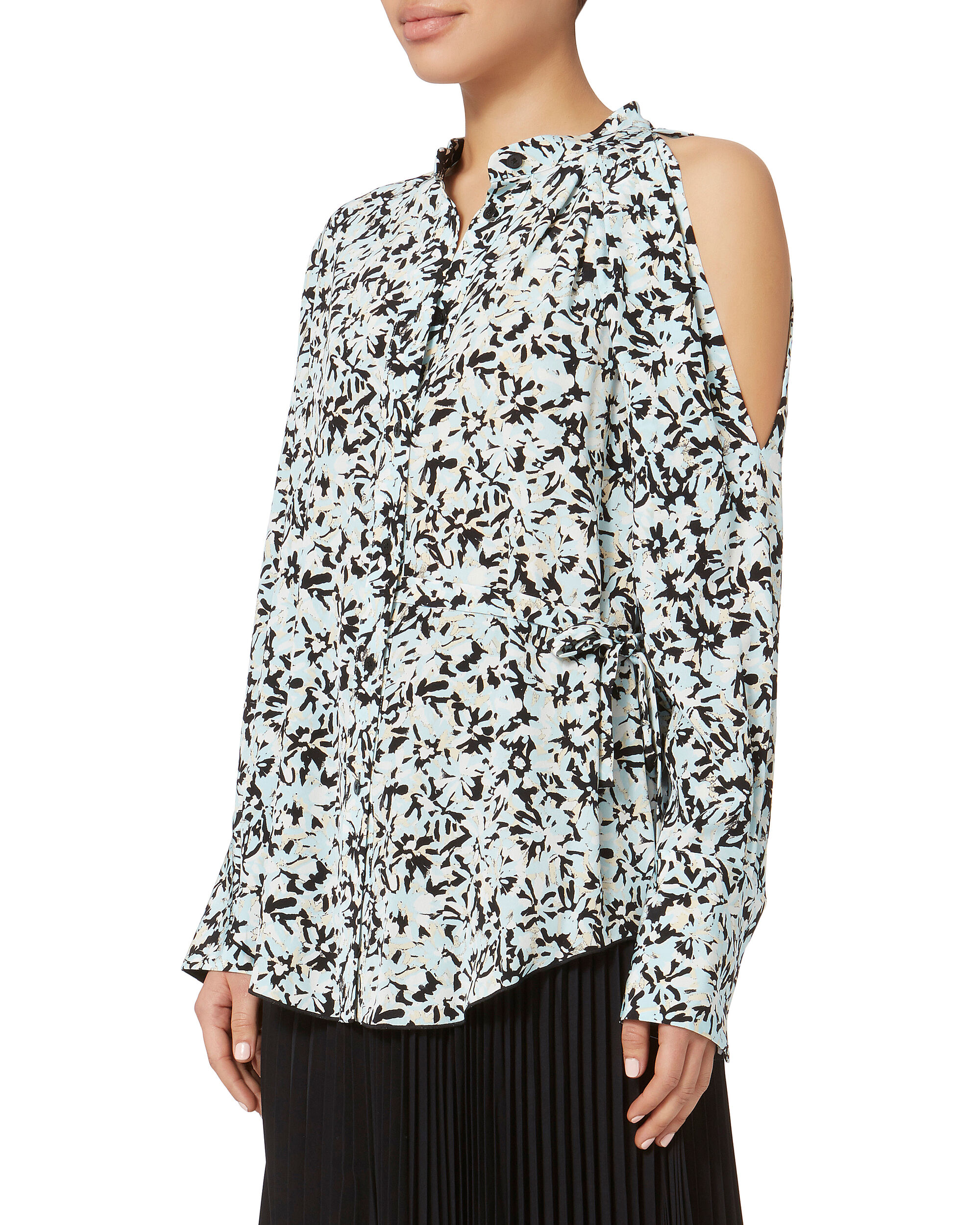 Asymmetric Floral Printed Top, PRINT, hi-res