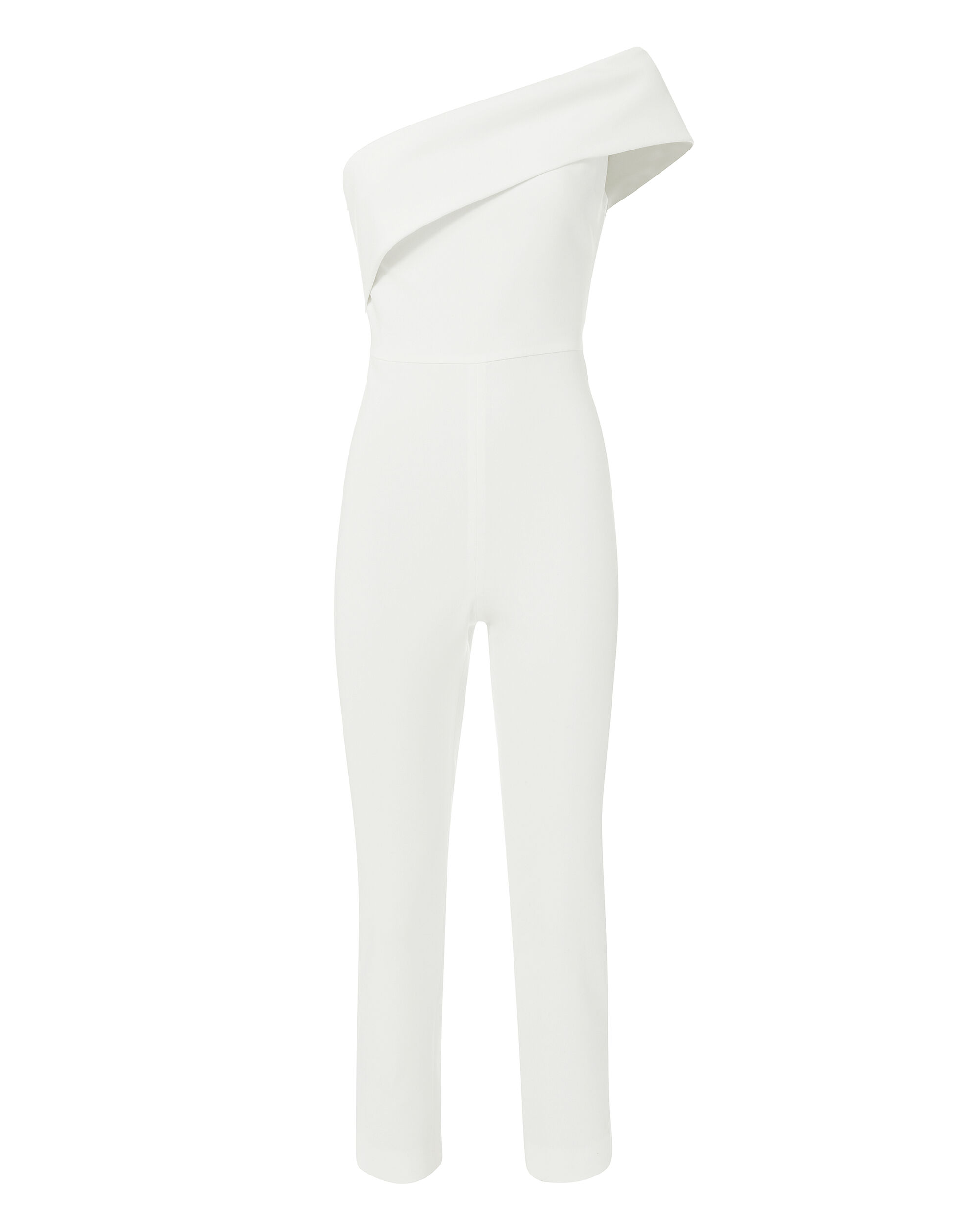 Seina One Shoulder Asymmetric Jumpsuit, WHITE, hi-res