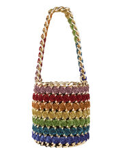 Gold Chain Rainbow Shimmer Bucket Bag, MULTI, hi-res