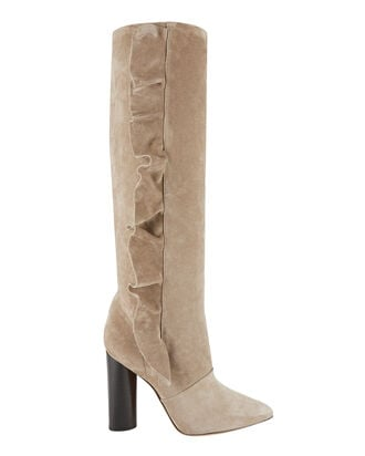 Cirdroval Ruffle Suede Boots, BEIGE/KHAKI, hi-res