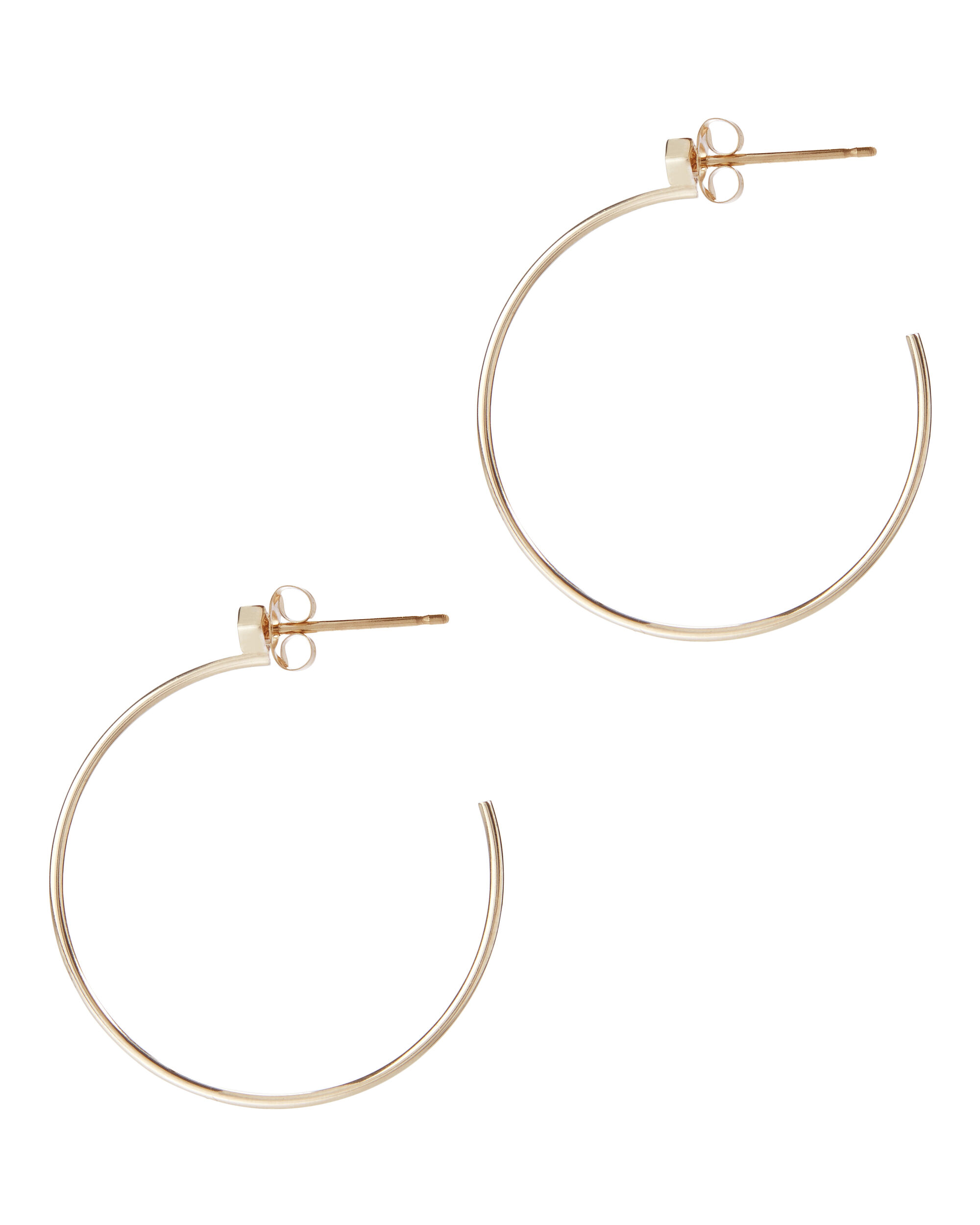 Princess Diamond Medium Hoop Earrings, METALLIC, hi-res