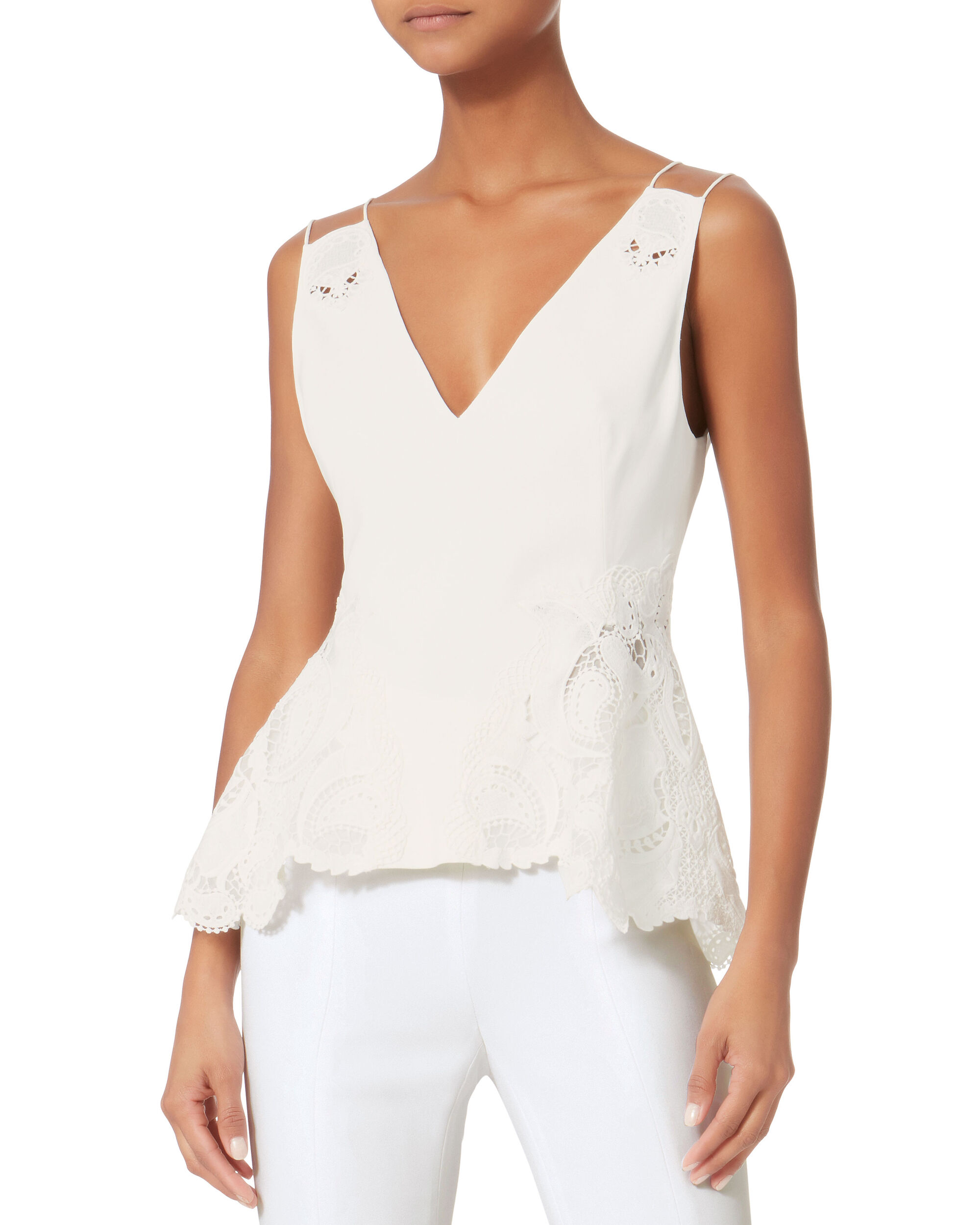 Crepe Applique Tank, IVORY, hi-res