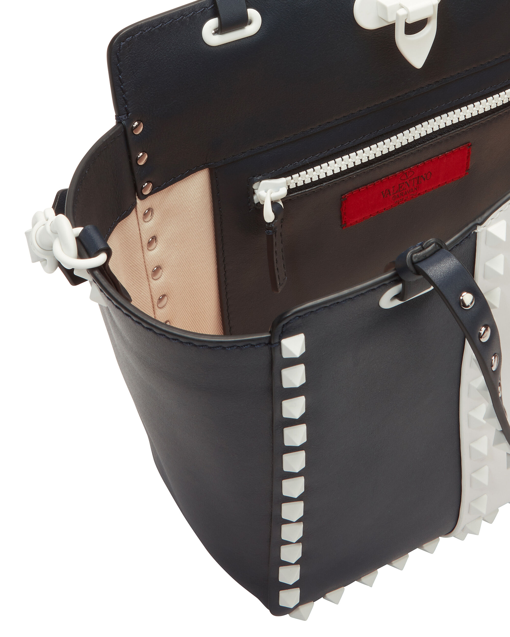 White Rockstud Small Leather Tote, NAVY, hi-res
