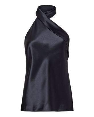 Asymmetric Sash Neck Top, NAVY, hi-res