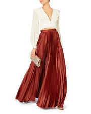 Annie Pleated Slit Skirt, RED, hi-res