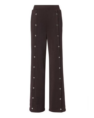 Burgundy Wide Leg Snap Pants, RED, hi-res