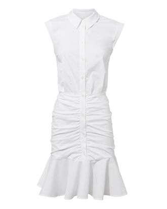 Core Bell White Ruched Dress, WHITE, hi-res
