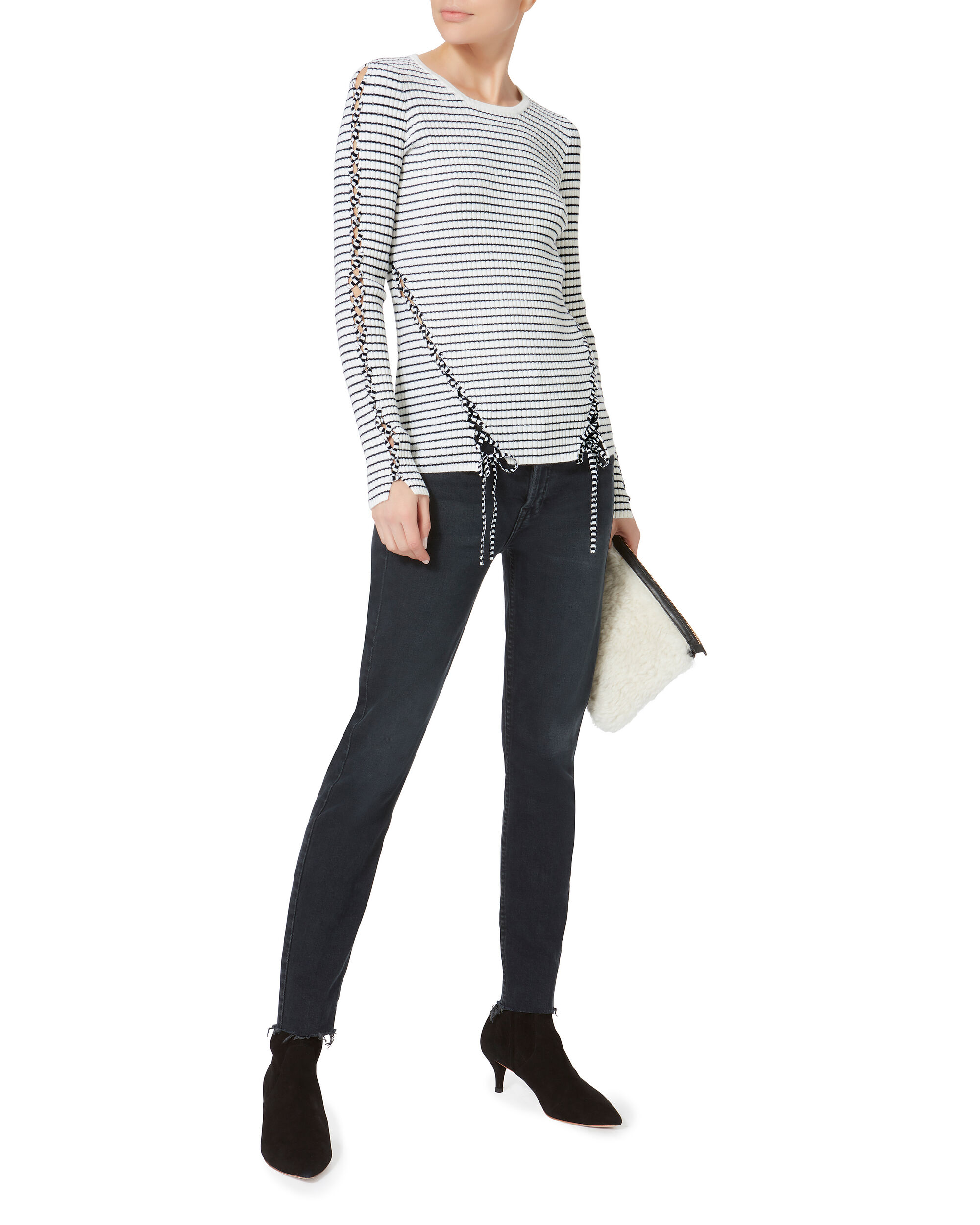 Lace-Up Stripe Pullover Sweater, PATTERN, hi-res