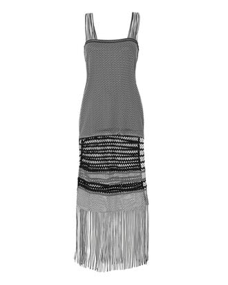 Fringe Knit Maxi Dress, BLACK, hi-res