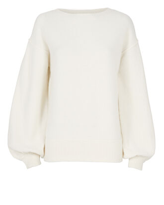 Balloon Sleeve Pullover Sweater, IVORY, hi-res