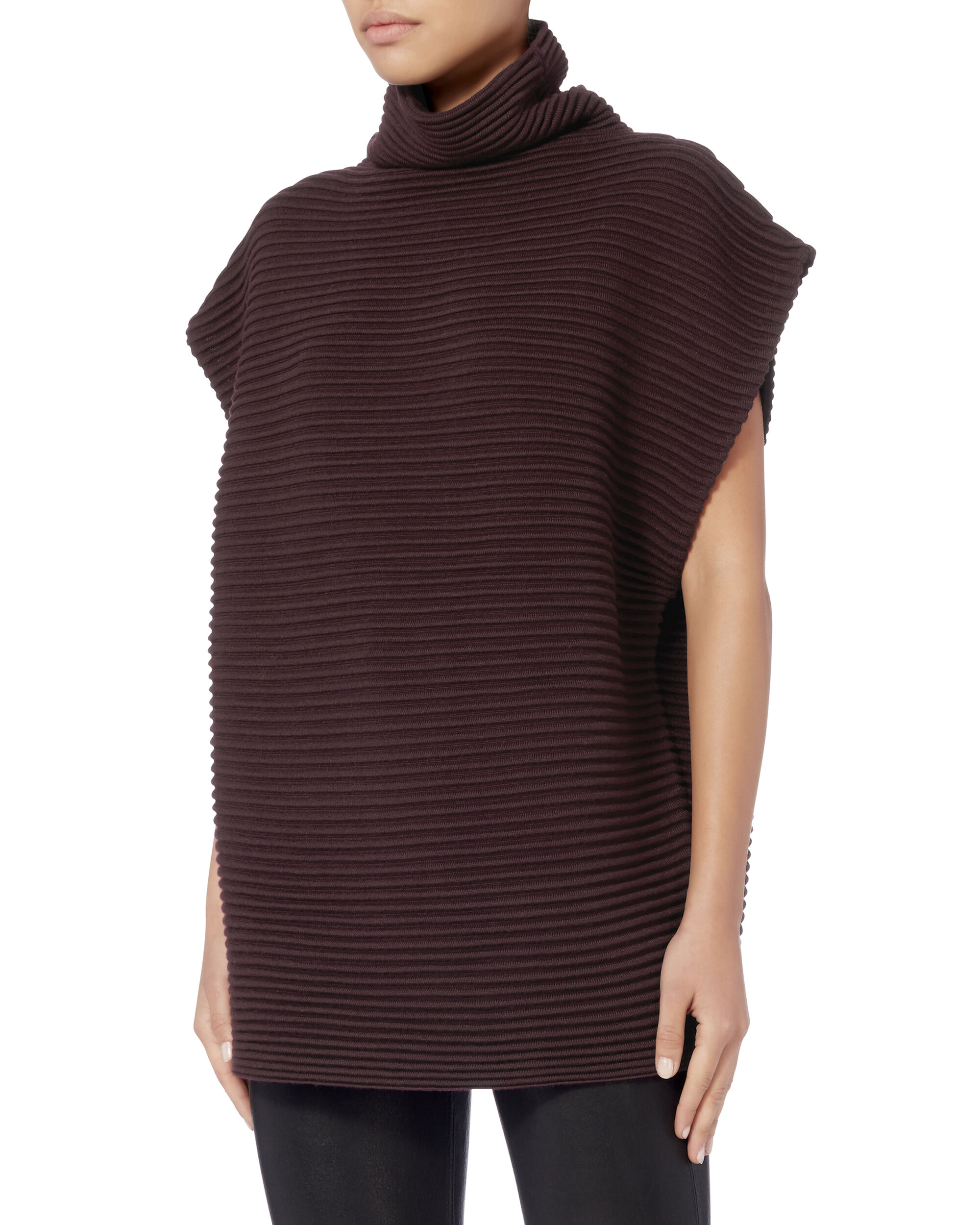 Funnel Neck Cap Sleeve Sweater, RED, hi-res