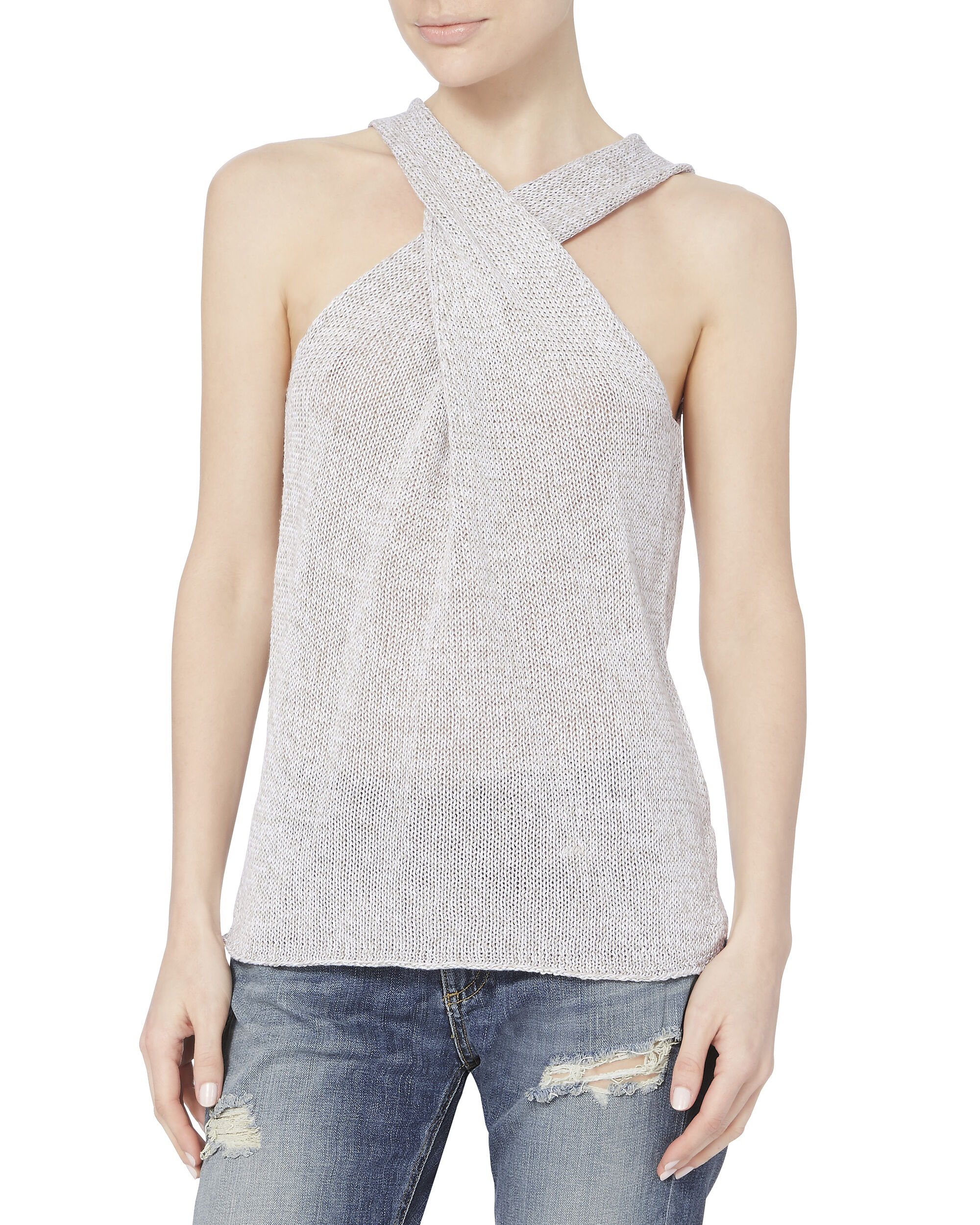 Ines Wrap Sweater Tank, GREY, hi-res