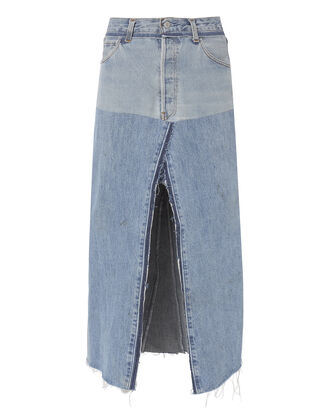 Seamed Denim Midi Skirt, DENIM, hi-res