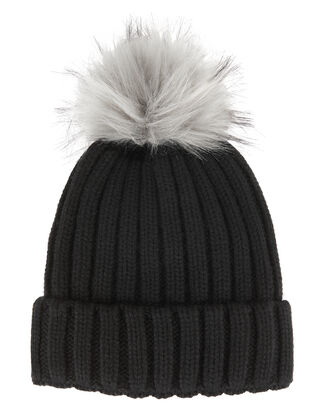 Faux Fur Pom Hat, BLACK, hi-res