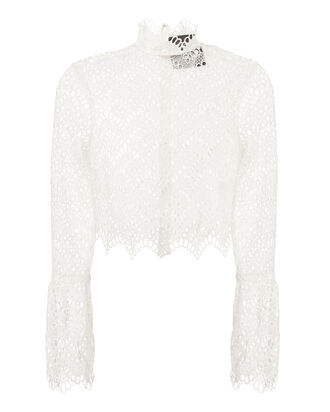 Bell Sleeve Eyelet Top, WHITE, hi-res