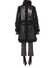 Foiled Shearling Coat, BLACK, hi-res