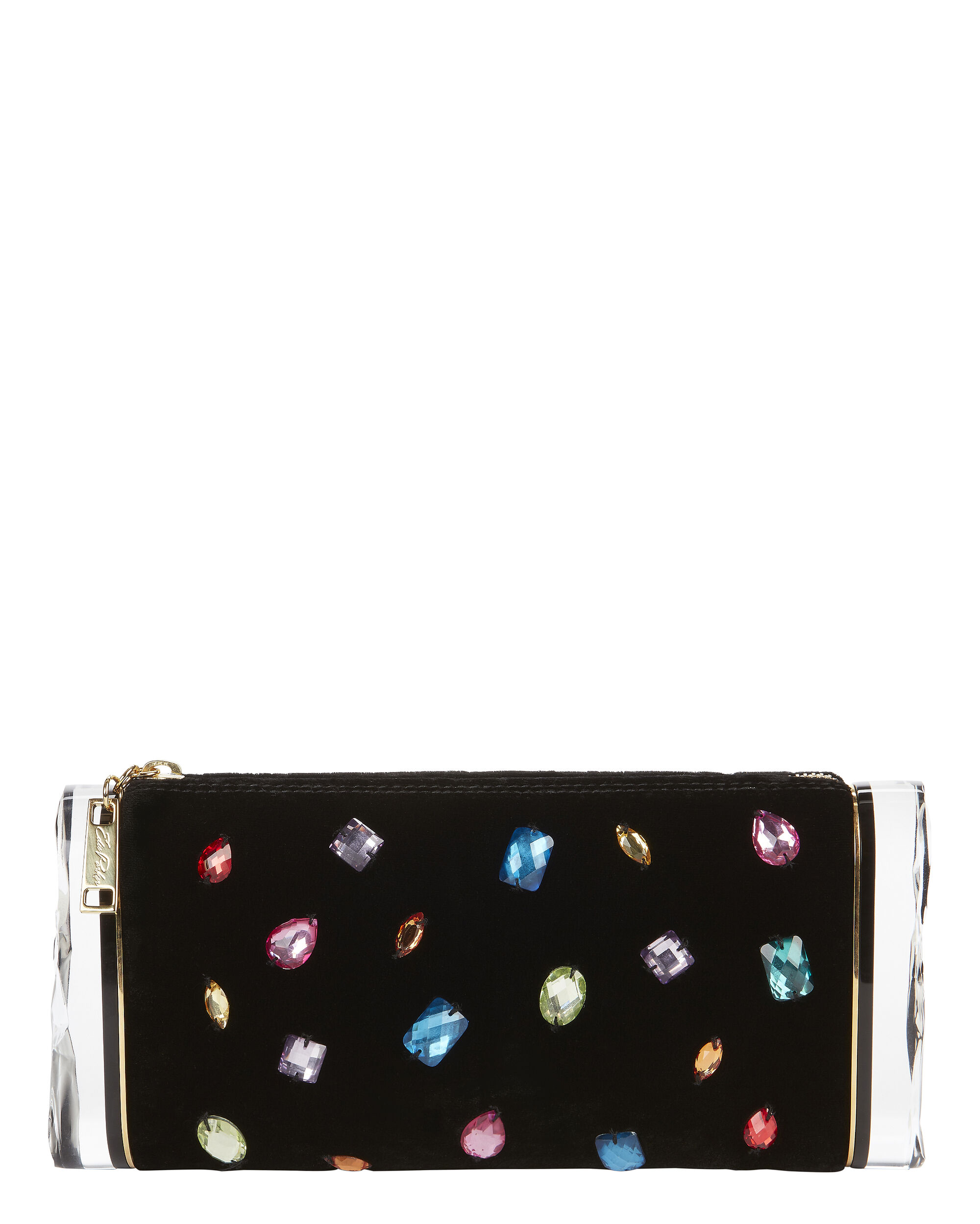 Lara Bejeweled Velvet Clutch, BLACK, hi-res