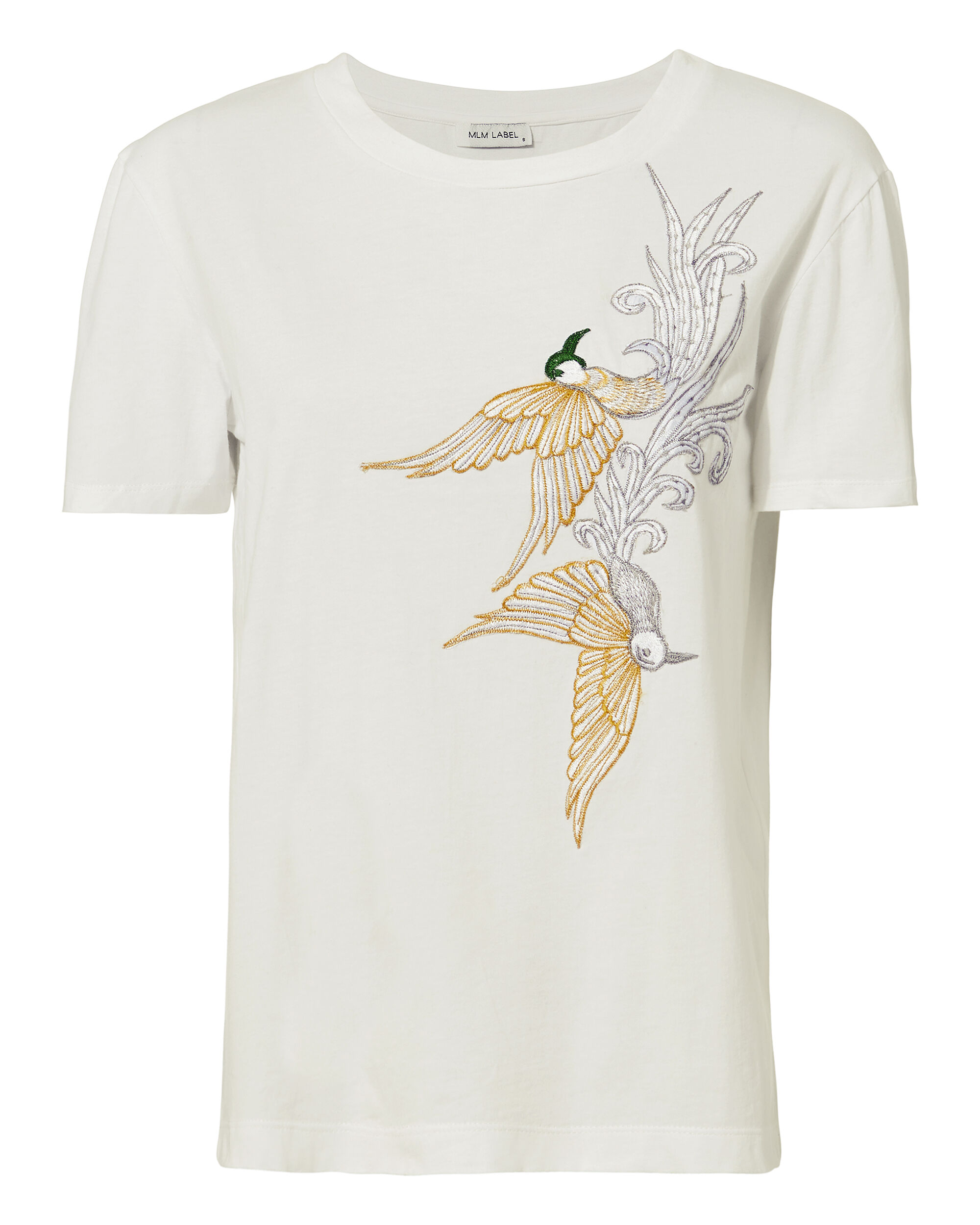 Bird Embroidered  Tee, WHITE, hi-res