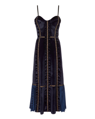 Velvet Paneled Midi Dress, BLUE, hi-res