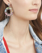 Zahra Rainbow Fringe Earrings, SILVER, hi-res