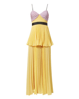 Crinkled Plumetis Tiered Dress, YELLOW, hi-res