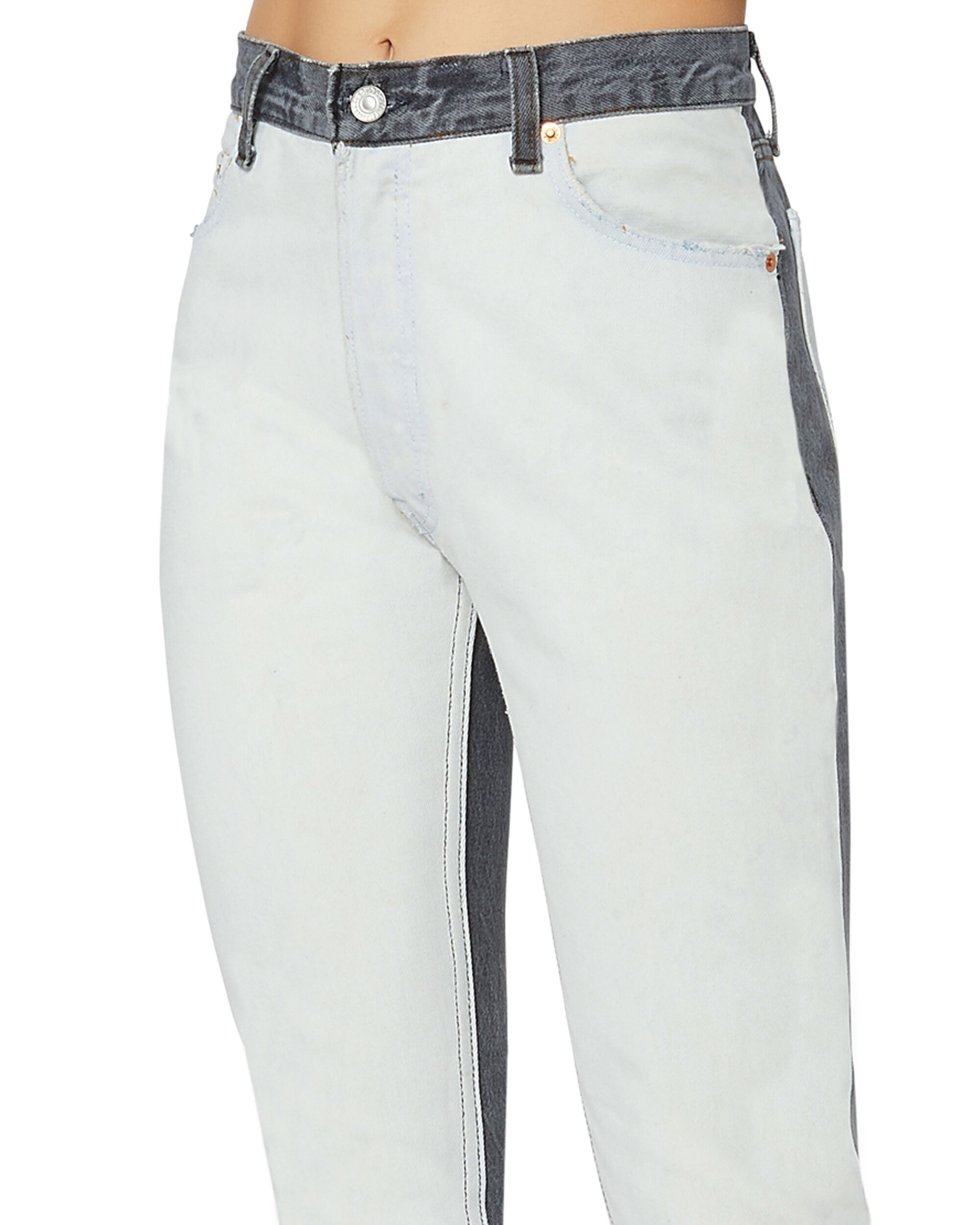 High-Rise Two-Tone Ankle Crop Jeans, BLACK/WHITE, hi-res