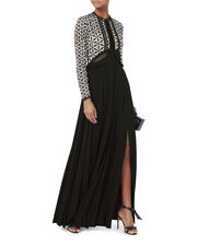 Guipure Cutout Maxi Dress, BLACK/WHITE, hi-res