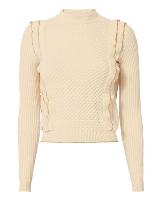 Gold Piping Ruffle Knit Sweater, WHITE, hi-res