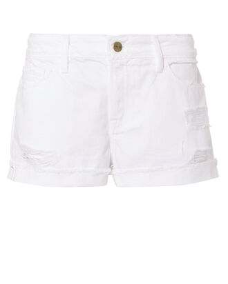 Le Grand Garcon White Jean Shorts, WHITE, hi-res