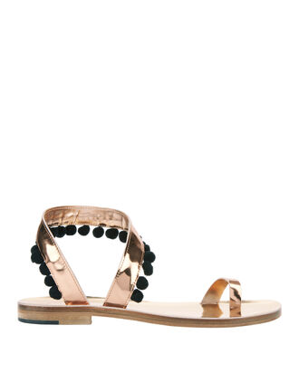 Angela Pom Metallic Flat Sandals, COLORBLOCK, hi-res