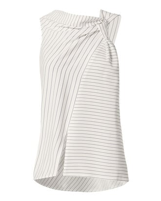 Knotted Pinstripe Top, WHITE, hi-res