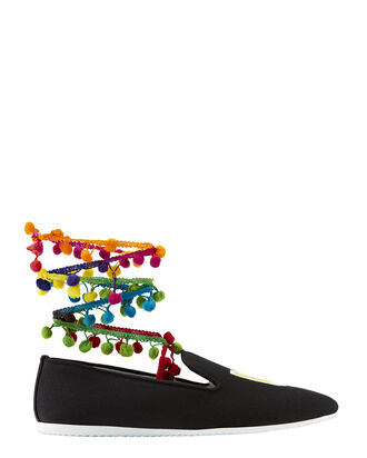 LA Pom-Pom Ankle Wrap Sneakers, BLACK, hi-res